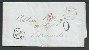 "Bermuda / G.B. - Liverpool 1859 Stampless entire letter from London to Bermuda with scarce ""5d"" cha"