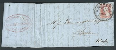 Forwarding Agents 1855 Entire Letter from Rotterdam to Boston carried outside the mails to New York