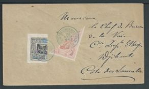 French Somali Coast 1901 (Nov. 20) Cover posted within Djibouti, the 15c rate paid by 1894 Obock 25