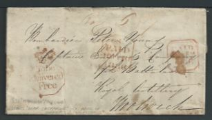 G. B. - Military / London / Ireland 1836 Entire letter (some staining) from Maynooth to a Bombardie