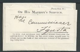 "Cyprus 1927 Entire Stampless Letter to Famagusta with O.H.M.S. address label applied and ""FAMAGUSTA"