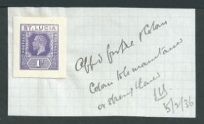 "Saint Lucia 1936 1d violet Postal Stationery envelope die proof affixed to small piece, annotated ""A"