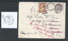 G.B. - Exhibitions 1886 Cover to the USA franked 2.1/2d lilac cancelled at South Kensington, backsto