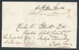 Cape of Good Hope 1859 Wrapper endorsed from the Magistrated Office, Swellendam, to Cape Town, with