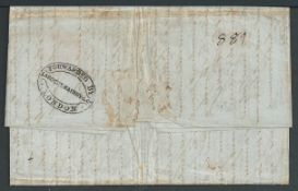Argentina / Forwarding Agents 1852 Entire Letter from Antwerp to Buenos Aires bearing on reverse bl