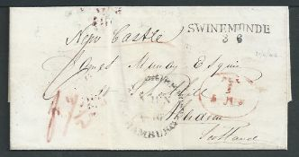 G.B. - Ship Letters - Newcastle 1846 Entire letter from Swinemunde to Aberdeen endorsed via Newcast