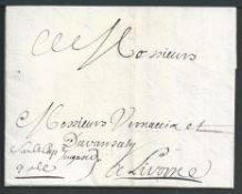Palestine 1700 (Oct 9) Entire Letter written in French from Acre in Turkish Syria (now Akko in Is...