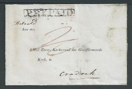 "Cape of Good Hope c1840 Wrapper with boxed ""PREPAID"" handstamp and part printed address to the churc"