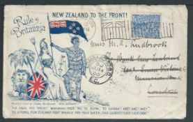 "Boer War / New Zealand 1900 Printed patriotic envelope entitled ""New Zealand to the Front!"" depictin"
