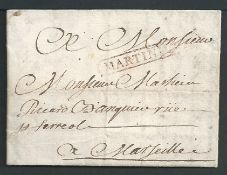 French Colonies - Martinique 1827 Entire letter (fie folds) from St Pierre to Marseille with red fra