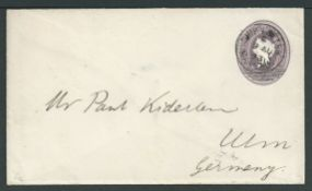 Bahamas 1893 (AUG. 9) 2.1/2d on 4d Postal stationery envelope to Germany