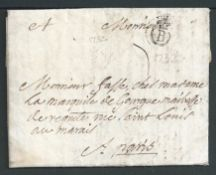 "France 1752 Entire letter from Bordeaux to Paris with a good strike of the seventh type ""B' flour-d"