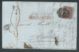 G.B. - Ship Letters - Falmouth 1852 Entire from Fox and Co in Falmouth to Huth and Co in London, po