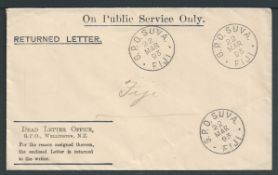 "Fiji / New Zealand 1893 Stampless Wellington Dead Letter office ""Returned Letter"" envelope (corner"
