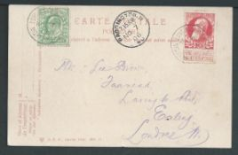"""G.B. - T.P.Os 1906 Picture postcard bearing G.B. 1/2d and Belgium 10c both cancelled """"LONDON & DOV"""