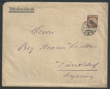"Germany 1936 Cover with printed heading ""Blindenschrift"" containing a letter in braille, sent fro..."
