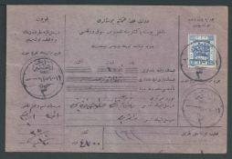 Palestine / Cilicia / Turkey 1920 Parcel card bearing Palestine 10pi (scissor cut into stamp) can...