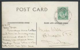 Basutoland 1919 Real photo picture postcard of Kueneng village, sent to Natal