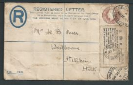 G.B. - Travelling Post Offices 1904 Registered postal stationery cover from Llandudno to Hitching b