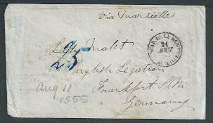 GB - Crimean War 1855 Stampless cover to Lady Malet, English Legation, Frankfurt, Germany with Post