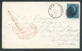 Forwarding Agents 1877 Cover from New York to U.S.S. Gettysburg with cachet of B.F. Stevens, United