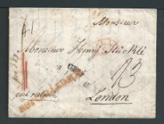 """G.B. - London 1845 Entire Letter from Ulm to London handstamped """"NOT CALLED FOR"""" in red. A scarce"""