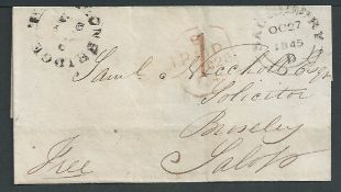 G.B. - Wiltshire / Shropshire 1845 Entire from Salisbury to Brosely via London with datestamps of S