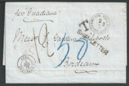 G. B. - Ship Letters - London 1876 Stampless Entire letter from Pernambuco to Bordeaux