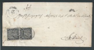 German States - Baden 1861 Part entire (address panel and one flap) from Ludwigshafen to Stockach w