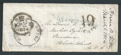 Great Britain 1854 Stampless Ladies Envelope with embossed border, complete with contents on simila