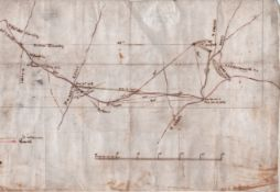 "RHODESIA.Mid 19th Century: Manuscript map on linen showing a Route from ""Netipas Country"" over t..."