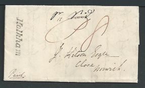 """G.B. - Norfolk 1836 Entire Letter to Norwich with a very fine """"Holkham"""" handstamp. This post offic"""