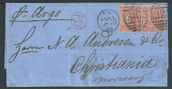 G.B. Yorkshire 1868 Entire from Hull to Norway franked by two Queen Victoria 4d vermilion plate 9 a