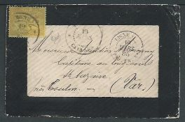 "French Guiana 1885 Mourning cover to France franked by French Colonies 25c tied by ""GYANNE / CAYENN"