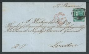 Danish West Indies 1866 Cover from the British Post Office in St Thomas to the Danish Consul General