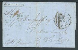 "G. B. - Transatlantic 1855 Entire Letter sent from ""New York"" to Edinburgh, with a ""21/N. YORK AM.P"