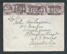 G.B. - Postage Dus / Scotland 1888 Cover to New South Wales franked by 1d lilac strip of six cancel