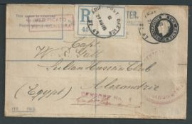 Palestine / Italy 1918 (Aug 27) GB 2d registration envelope sent to Egypt by a Captain in the Ita...
