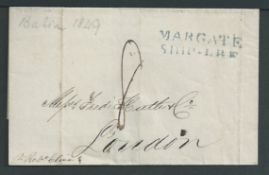 """Great Britain - Ship Letters - Margate 1849 Entire from Bahia to London handstamped """"MARGATE / SHIP"""