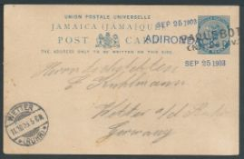 Jamaica / Germany / United States 1903 Jamaica 1d postal stationery Post Card to Germany cancelle...