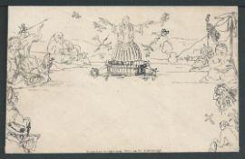 G.B. - Mulreadys 1840 Menzies of Edinburgh Mulready caricature envelope state 1A with 43mm imprint