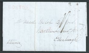 U.S.A. - G.B. - Transatlantic 1843 Entire letter from New York to Edinburgh with scarce red straight