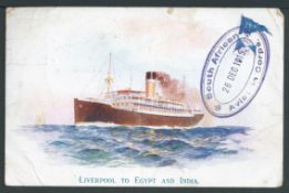 "South Africa 1915 Stampless picture postcard (minor creasing) of a ""Hall Line"" ship written whilst o"