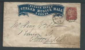 """G.B. - Advertisting Envelopes 1865 Cover (staining, edge tear) with a printed embossed heading """"PLE"""