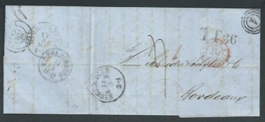 German States - Hamburg / Denmark 1862 Stampless Entire Letter from Copenhagen to Bordeaux with cle