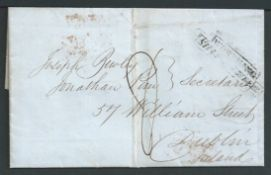 """G.B. - Ship Letters - Worthing 1847 Entire letter from New York to Dublin handstamped """"WORTHING / S"""