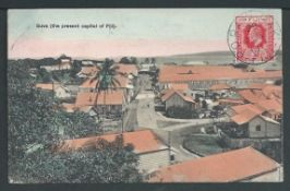 Fiji 1911 Picture postcard of Suva addressed to Egypt, a KEVII 1d on the picture side tied by fine