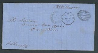 Cape of Good Hope 1879 O.H.M.S. wrapper from the Postmaster at Ceres, with c.d.s. and Cape Town arr