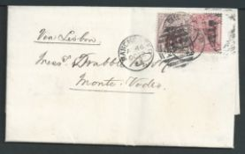 G.B. - Surface Printed 1883 Entire Letter from Manchester to Montevideo franked by 1880 6d on 6d an