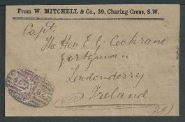 G.B. - Newspaper Branch 1879 Part Wrapper franked 1870 1/2d cancelled by the special oval